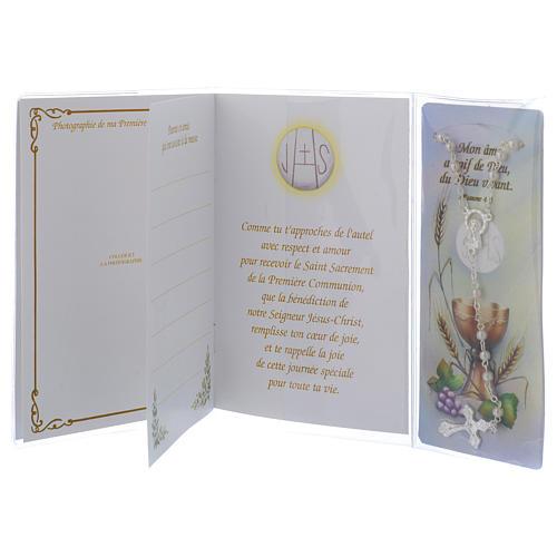 Libretto Prima Comunione FRANCESE con rosario bianco 4