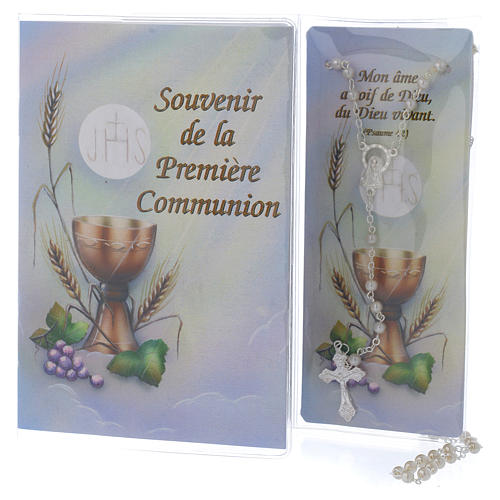 Book First Communion in FRENCH with white rosary 1