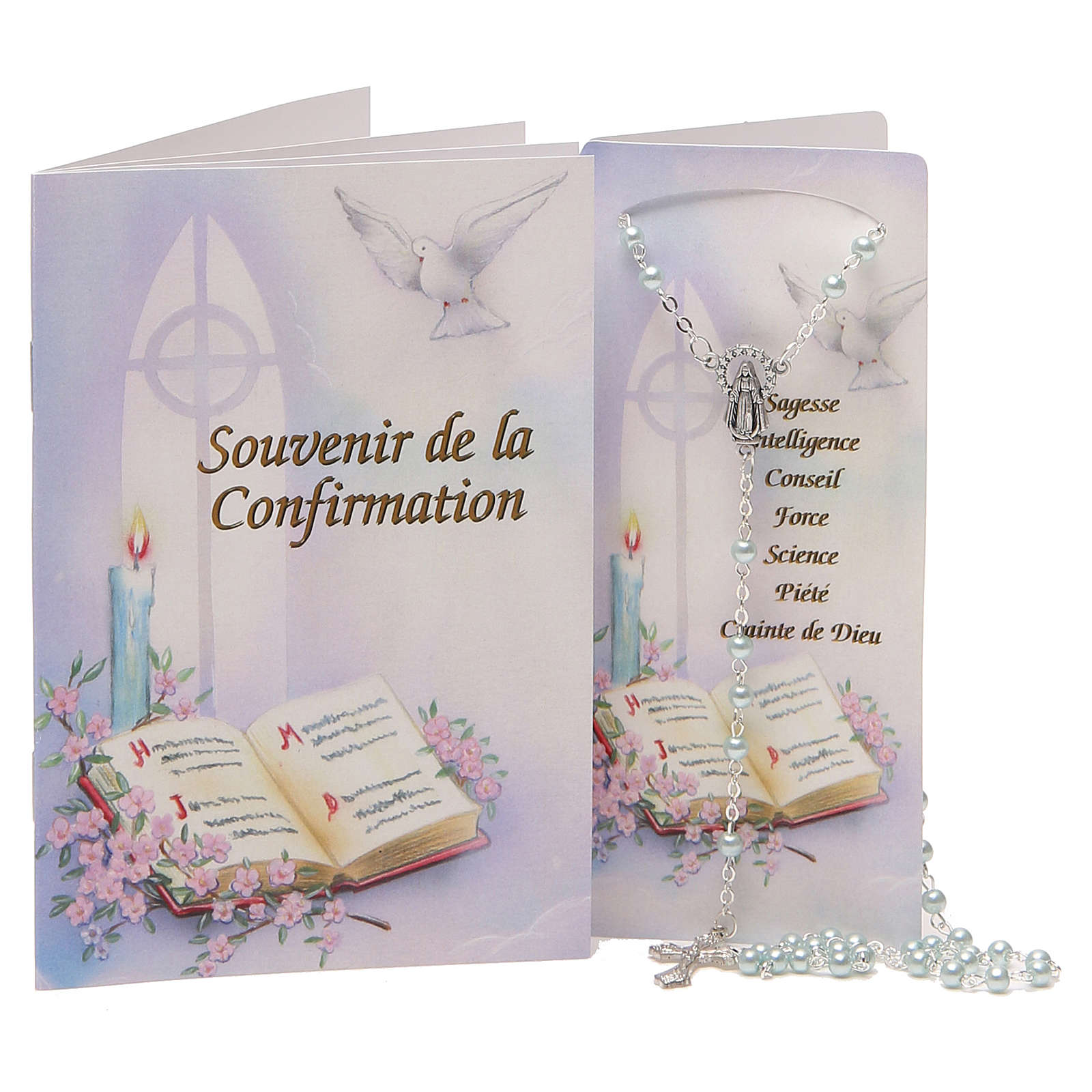 Livret souvenir Confirmation Français chapelet bleu claire 4