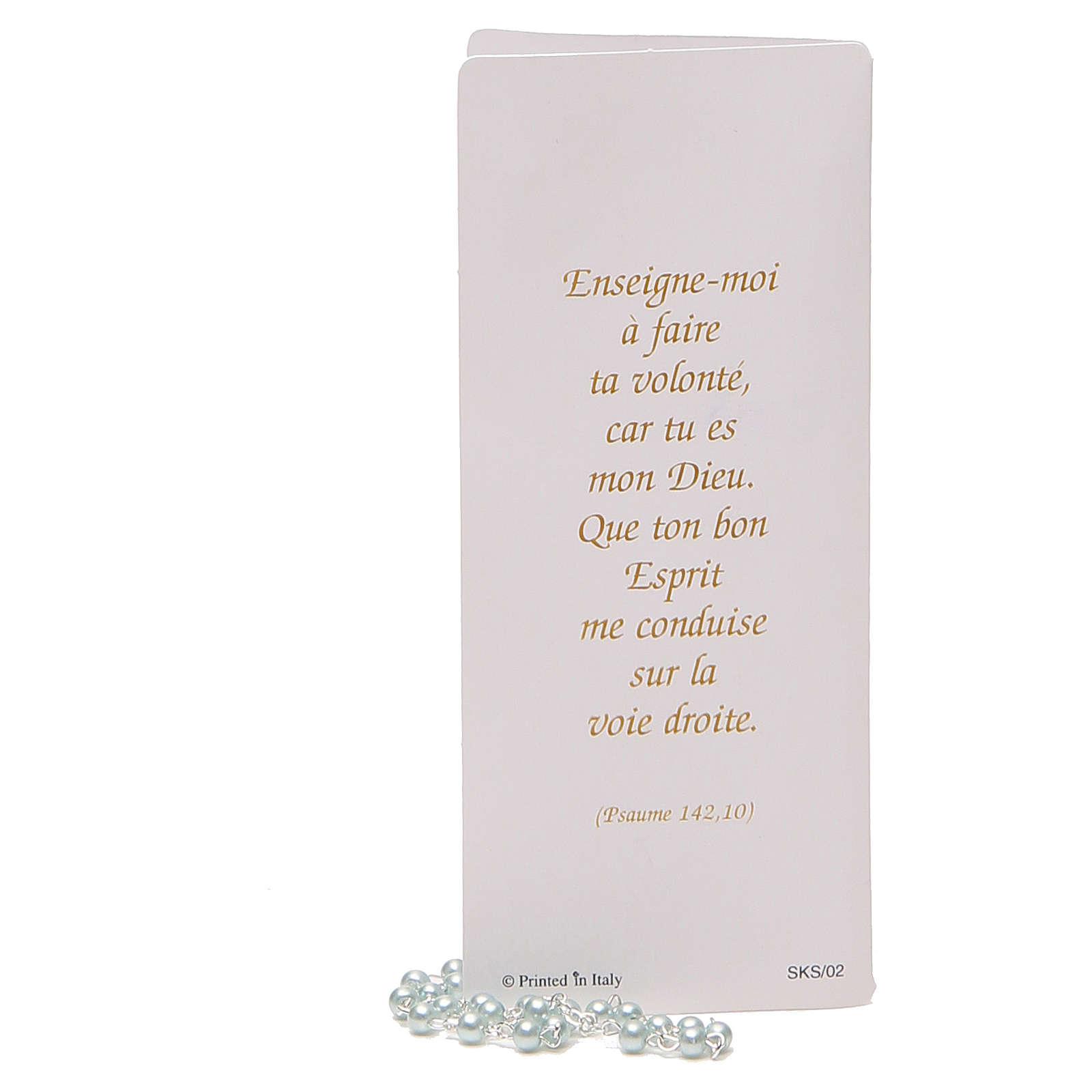 STOCK Libretto ricordo Cresima FRANCESE con rosario azzurro 4