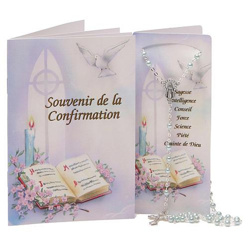 STOCK Libretto ricordo Cresima FRANCESE con rosario azzurro 1