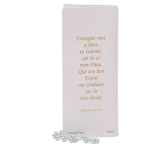 STOCK Libretto ricordo Cresima FRANCESE con rosario azzurro 5