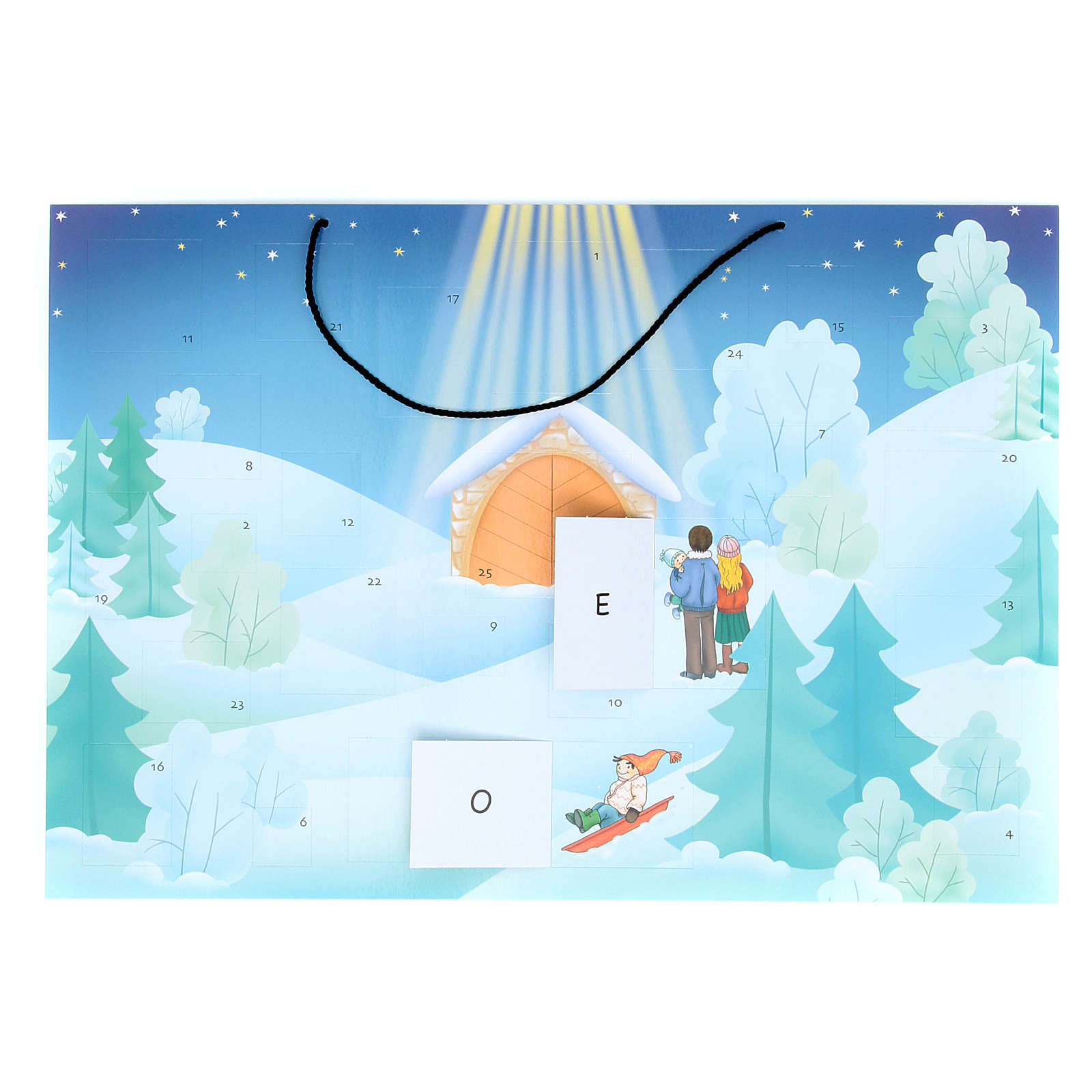 Advent calendar with landscape covered with snow 4