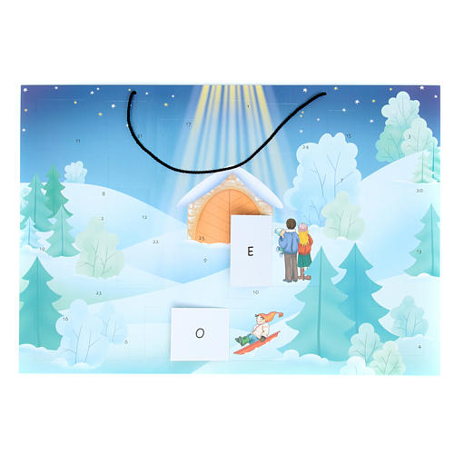 Advent calendar with landscape covered with snow 2