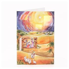 Calendari e altri libri religiosi: Biglietto calendario dell'avvento presepe