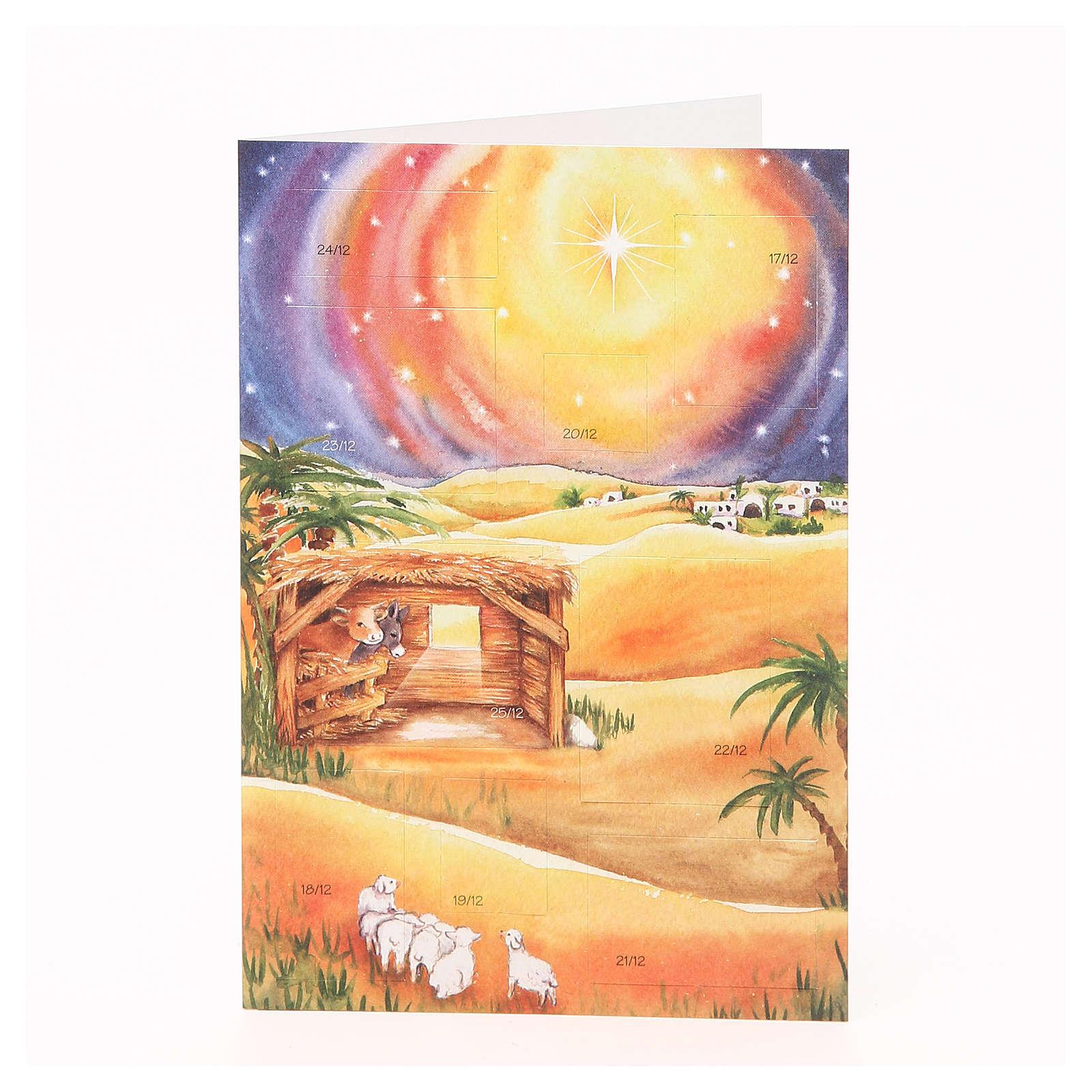 Cartão calendário de Natal presépio 4