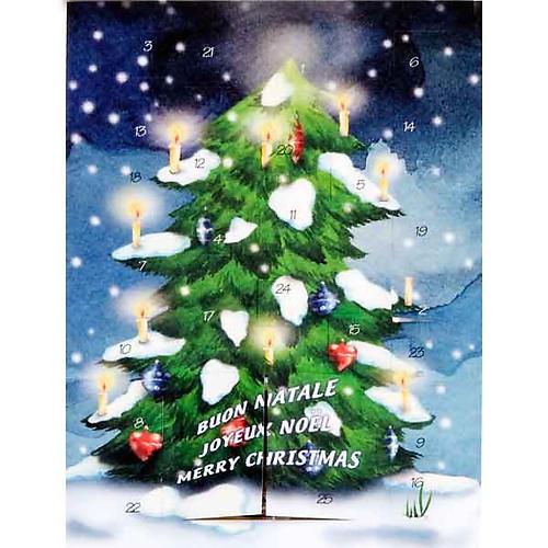 Biglietto calendario dell'avvento albero 1
