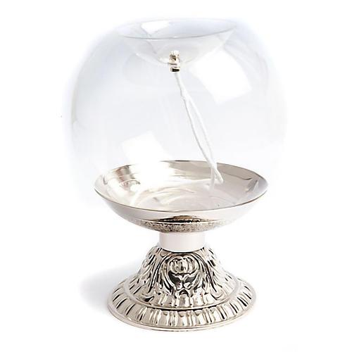 Sphère transparente sur pied argenté 1
