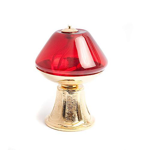 Lampada vetro rosso base dorata 3