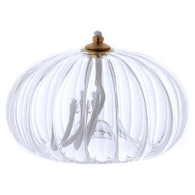 Transparent glass oil lamp, pomegranate shaped s2