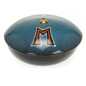 Lampada ciotola ceramica blu simbolo mariano s1