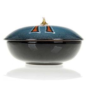 Lampada ciotola ceramica blu simbolo mariano s4