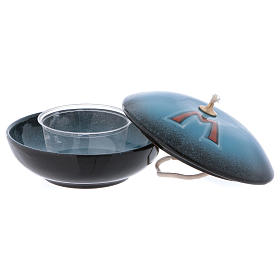 Lampada ciotola ceramica blu simbolo mariano s2