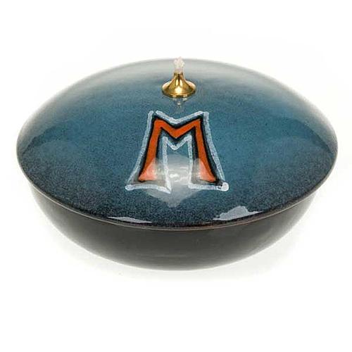 Lampada ciotola ceramica blu simbolo mariano 1