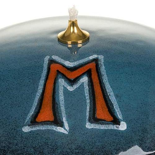 Lampada ciotola ceramica blu simbolo mariano 3