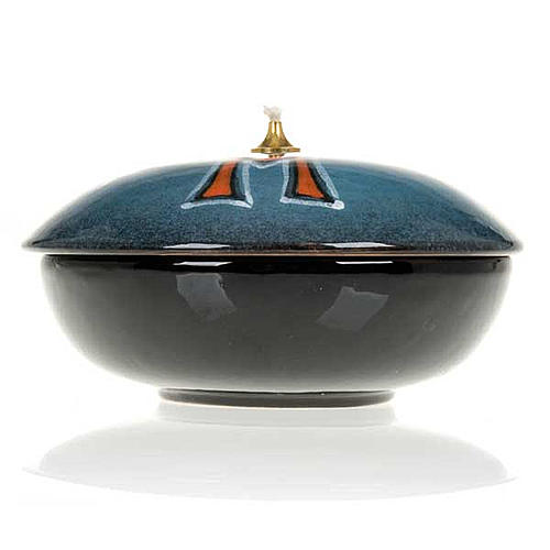 Lampada ciotola ceramica blu simbolo mariano 4
