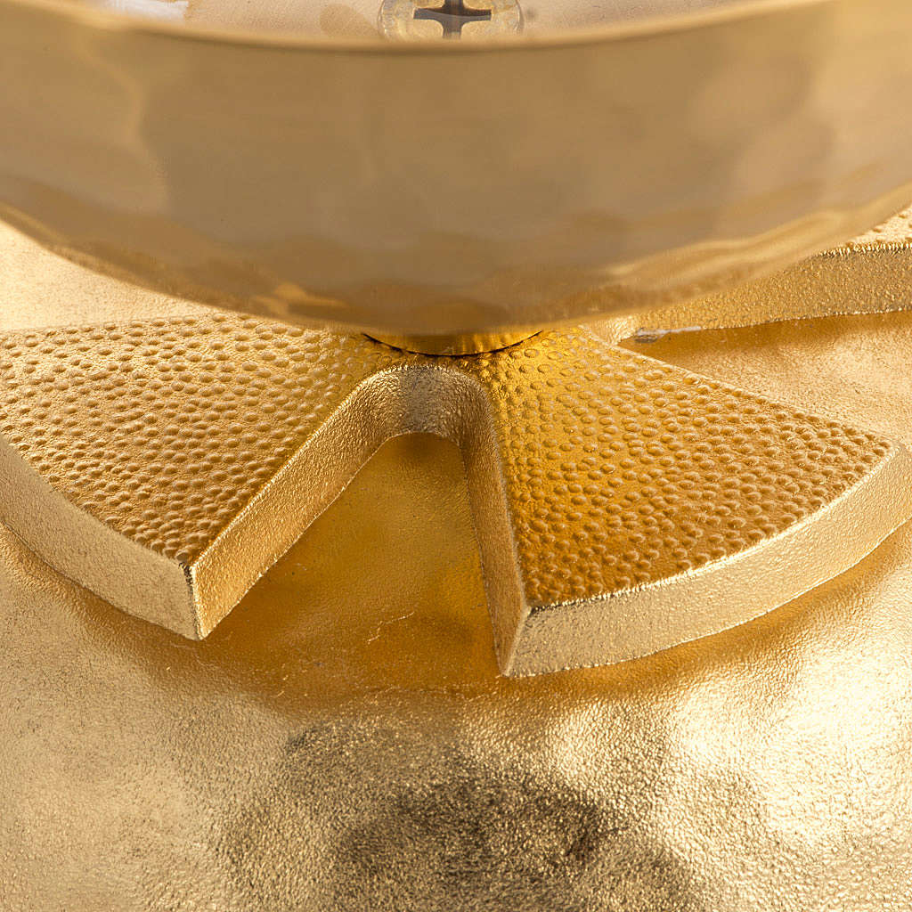 Lampe pour cire liquide en laiton martelé doré 3
