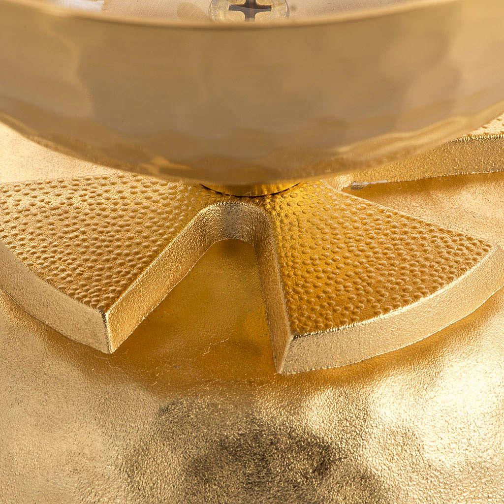 Lampada per cera liquida in ottone martellato dorato 3