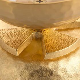 Lampada per cera liquida in ottone martellato dorato s2