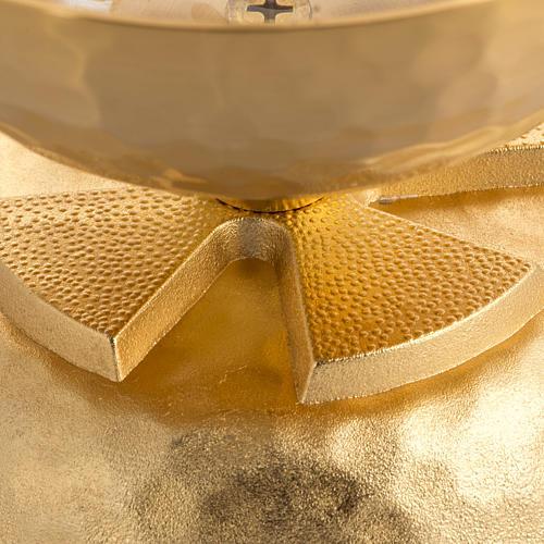 Lampada per cera liquida in ottone martellato dorato 2
