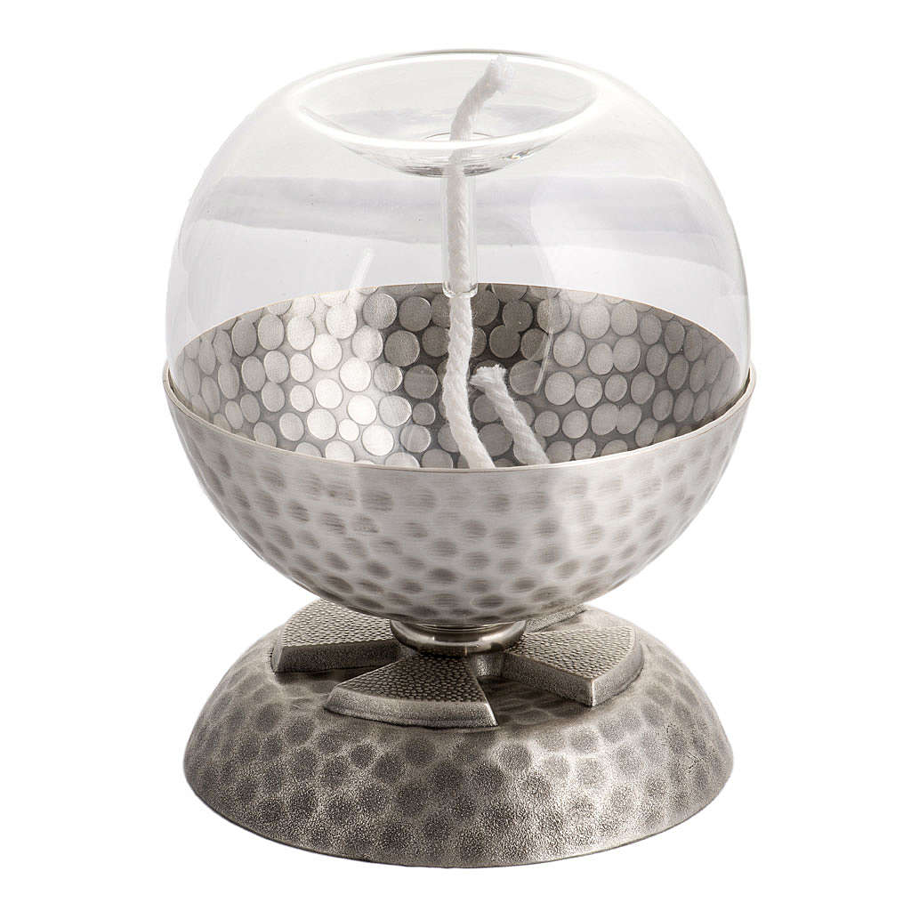 Lamp for liquid wax in hammered silver-plated brass 3