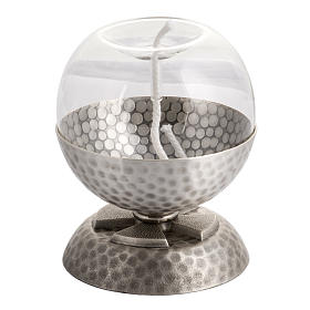 Lamp for liquid wax in hammered silver-plated brass s1