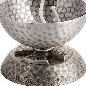 Lamp for liquid wax in hammered silver-plated brass s2