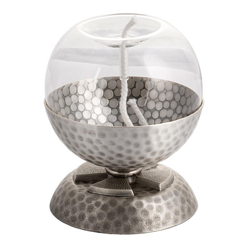 Lamp for liquid wax in hammered silver-plated brass 1