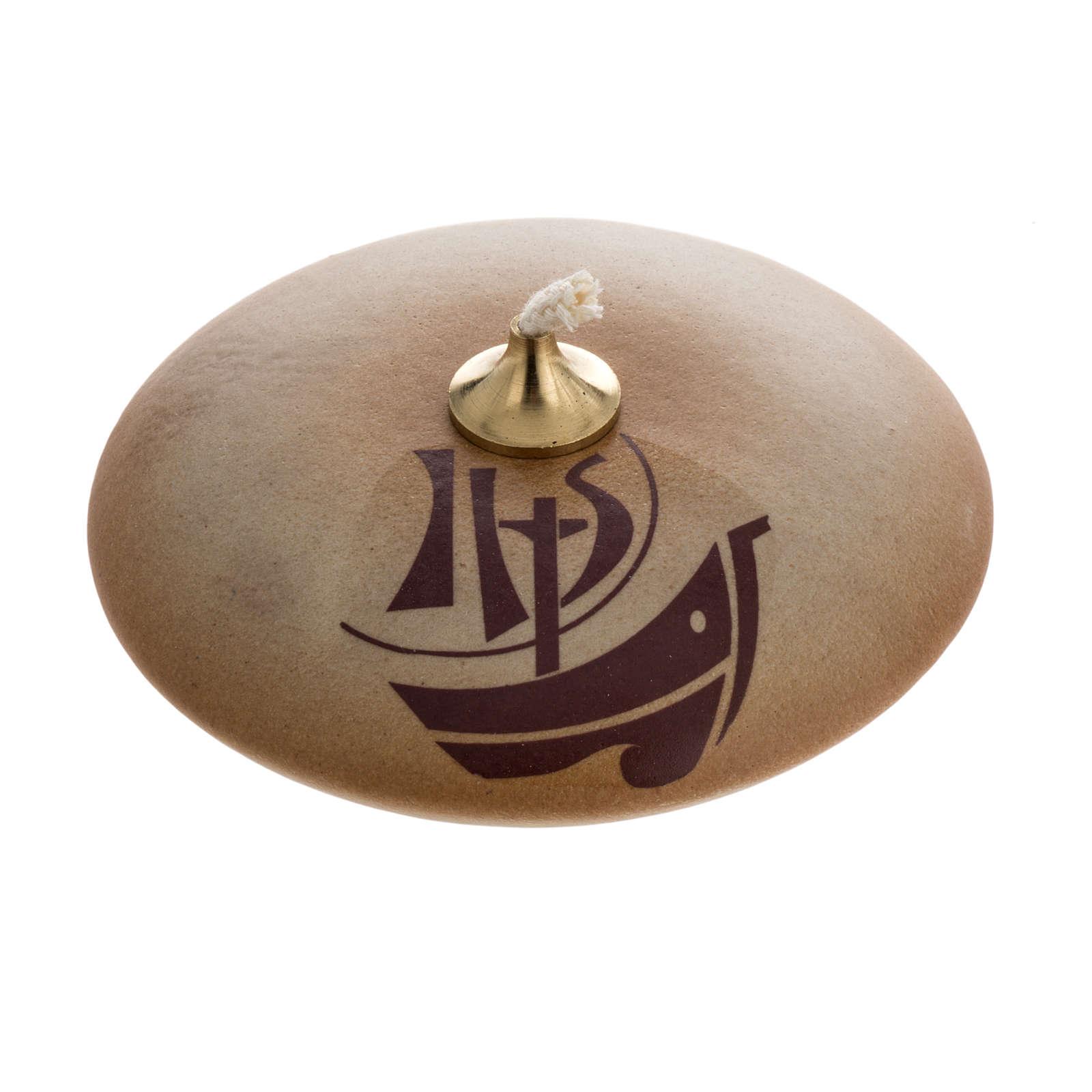STOCK Lampada olio ceramica color sabbia Anno della Fede 3