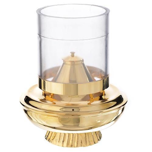 Lucerna a cera liquida bianca su base h15,5 1