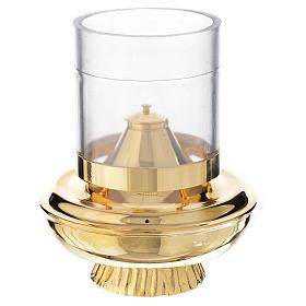 Lâmpadas e Lamparinas: Lamparina de cera líquida branca com base h 15,5 cm