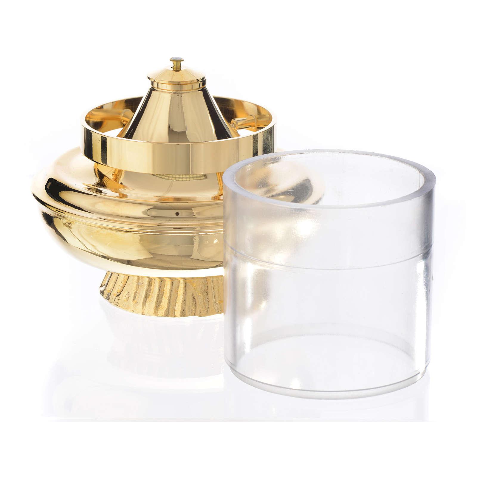 Liquid wax altar lamp, white on a base of 15.5cm 3
