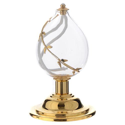 Lamparina gota cristal soprado decoro dourado 2