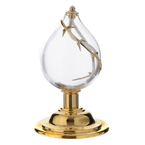 Liquid wax altar lamp in blown crystal with golden decoration 1