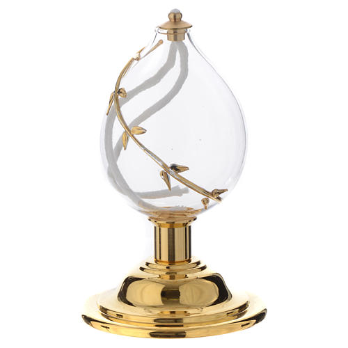 Liquid wax altar lamp in blown crystal with golden decoration 2