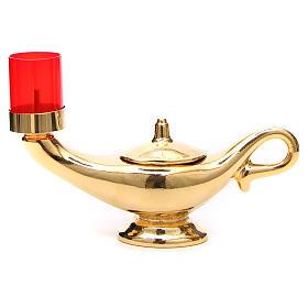 STOCK Lampada Aladino dorata con lume rosso s1