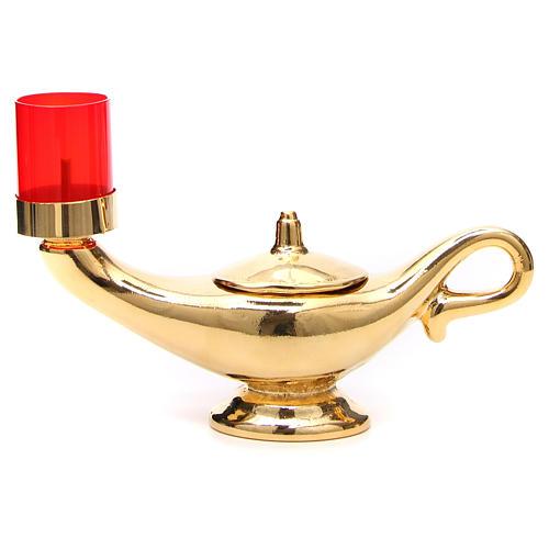 STOCK Lampada Aladino dorata con lume rosso 1