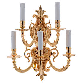 Lamps and lanterns: Baroque Applique in brass with 5 candles