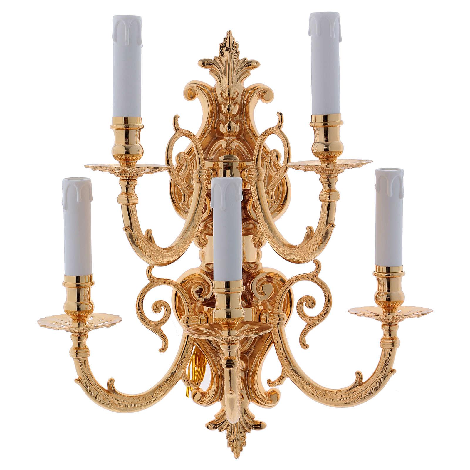 Applique baroque en laiton moulé à 5 bras 3