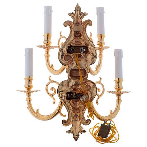 Applique barocco in ottone fuso a 5 luci 6