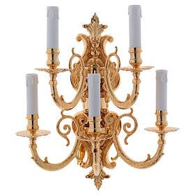 Lâmpadas e Lamparinas: Aplique barroca em latão moldado 5 velas