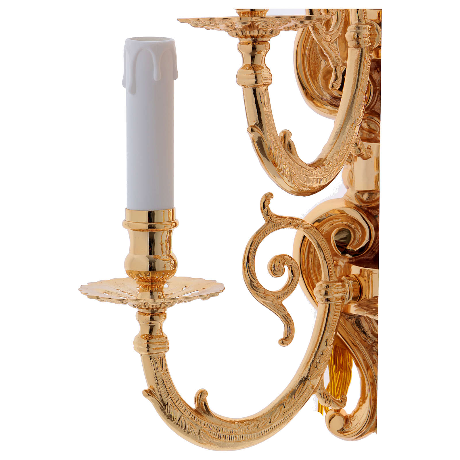 Baroque Applique in brass with 5 candles 3