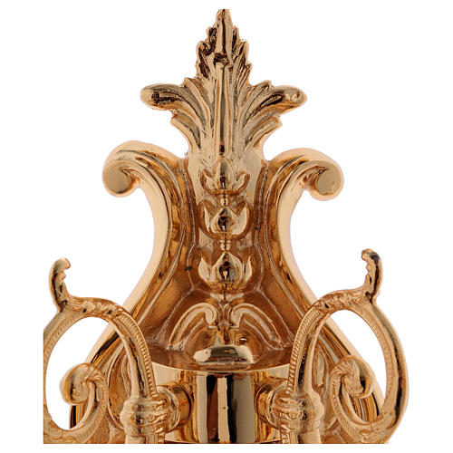 Baroque Applique in brass with 5 candles 5