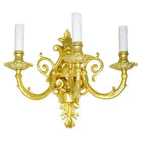 Lámpara de pared con aplique latón fundido 3 luces s1