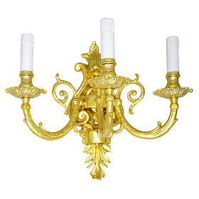 Baroque Applique in brass with 3 candles s1