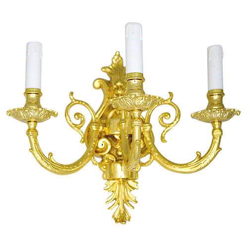 Baroque Applique in brass with 3 candles 1