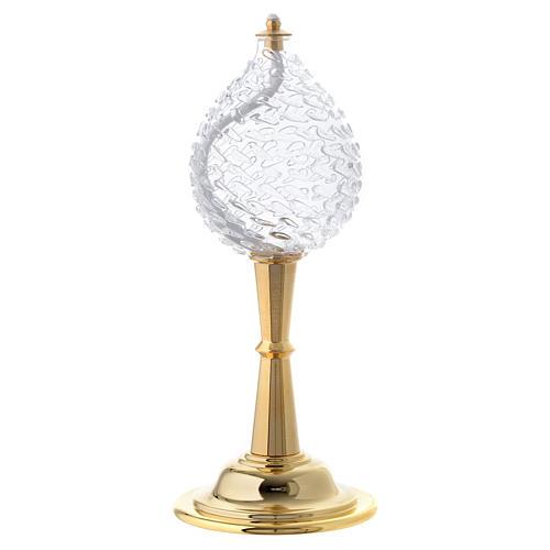 Lámpara cera líquida vidrio texturado con pie de latón 1