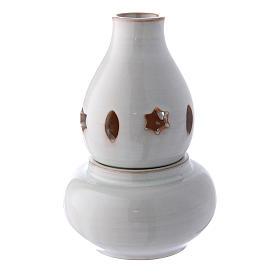 Lâmpadas e Lamparinas: Porta-vela branca cerâmica ânfora