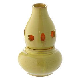 Lâmpadas e Lamparinas: Porta-vela amarela cerâmica ânfora