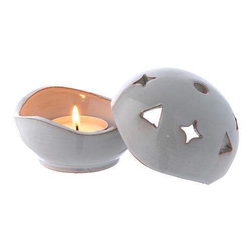 Lampada bianca ceramica sfera 2
